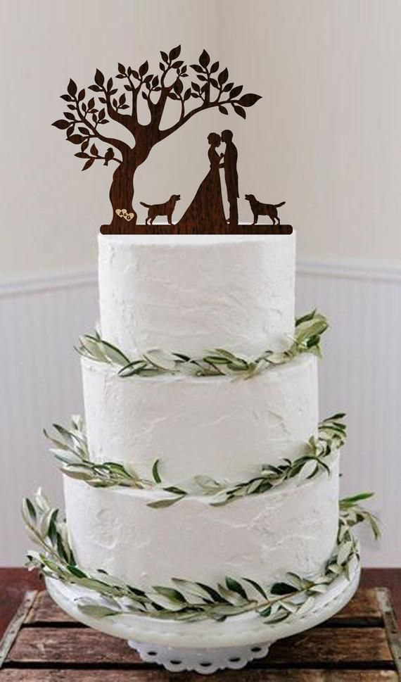 Wedding Cake Topper With three Dogs and two Cats/_Bride And Groom Cake Topper/_cake topper Silhouette/_/_Custom Cake Topper/_funny cake topper