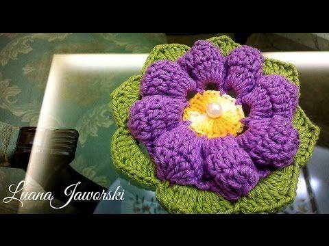 Flor Ciclame Crochê | Passo a Passo | Luana Jaworski - YouTube