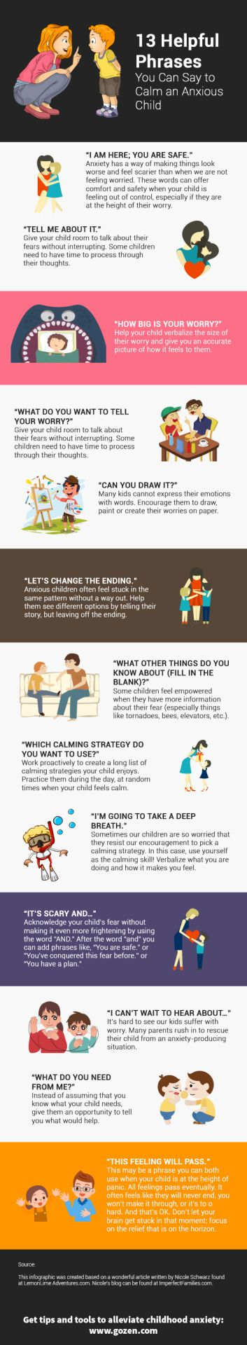 "momsanddads: ""Let's change the ending."" Source: http://www.gozen.com/try-these-13-phrases-to-calm-your-anxious-child/"