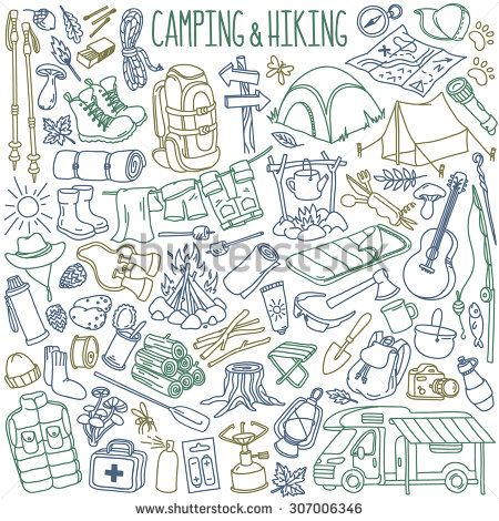 Camping and hiking hand drawn doodles collection. Travel accessories and equipment. Isolated over white background.
