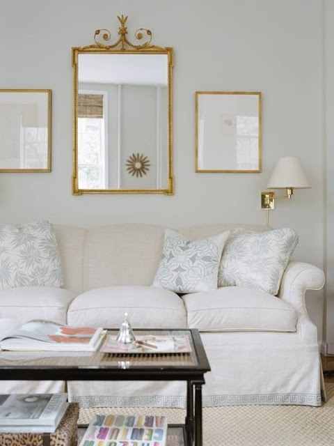 Add Mirror Above Sofa And Flank With Soft Prints