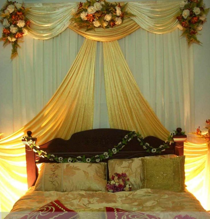 17 best images about wedding bed decoration on pinterest for Bed decoration for wedding