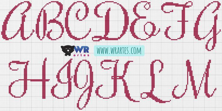Olá WR's! Quero compartilhar com vocês este gráfico de ponto cruz de um alfabeto lindo! Estas letras elegantes vão dar um charme único ...
