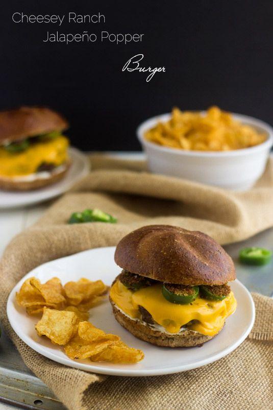 Cheesy Jalapeno Ranch Burger - Your new favorite #burger! - Food Faith Fitness |  #MemorialDay #recipe