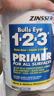 primer by Zinsser:  water-based = no stink.  Sticks to all surfaces without sanding.  Seals uniformly.  Blocks stains.  Dries in 1 hour.  Use with any topcoat.