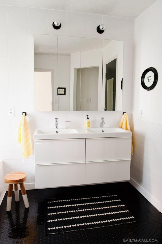 bathroom - Ikea Godmorgen mirrors across back wall #fixbthrmstorage