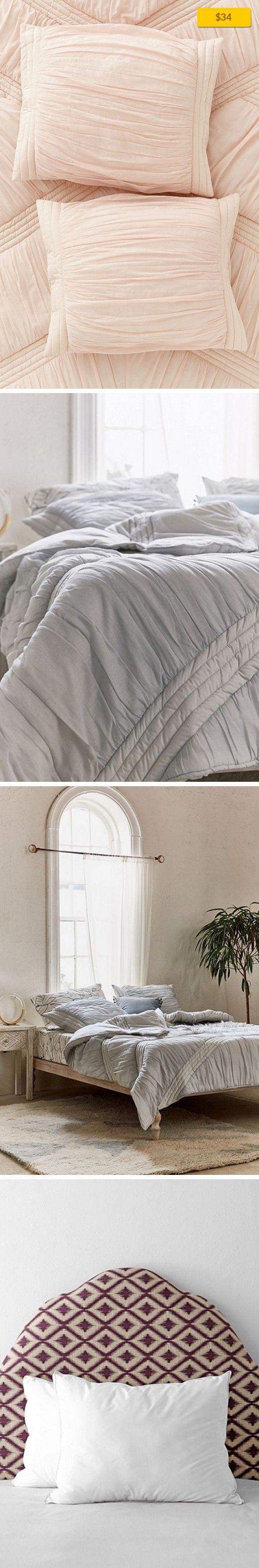 """Ruffle Sham Set Apartment, Bedding, Pillowcases + Shams   Set of 2 cotton pillow shams in a ruffle design. Perfect for a femme update to any bedding. Content + Care - Set of 2 - Cotton - Machine wash - Imported Size - Dimensions: 21""""l x 27""""w"""
