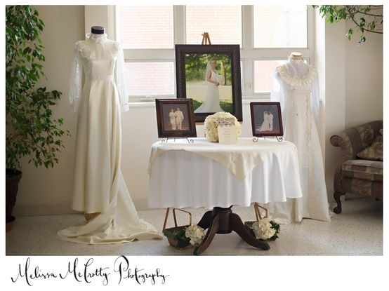 A great way to display ancestors' wedding dress at your reception