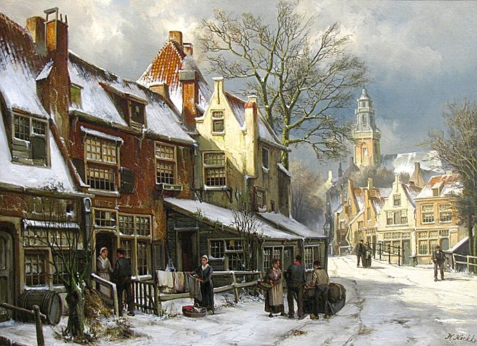 Willem Koekkoek (1839 - 1895) A Dutch Town in Winter