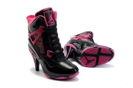 Bonito Nike Air Jordan 4 High Heels Negro Rosa Venta : Zapatos Nike Baratos:50% de descuento!