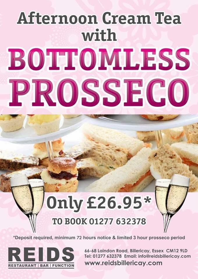 Book now for Reids Afternoon Cream Tea with Bottomless Prosecco ONLY £26.95 T 01277 632378 Re Share and tag an afternoon tea lover 72 hours notice required