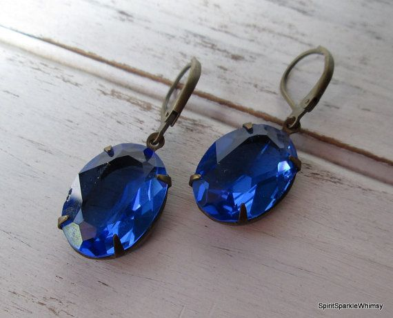 Blue Rhinestone Earring Sapphire Earring by SpiritSparkleWhimsy 20% off with coupon code