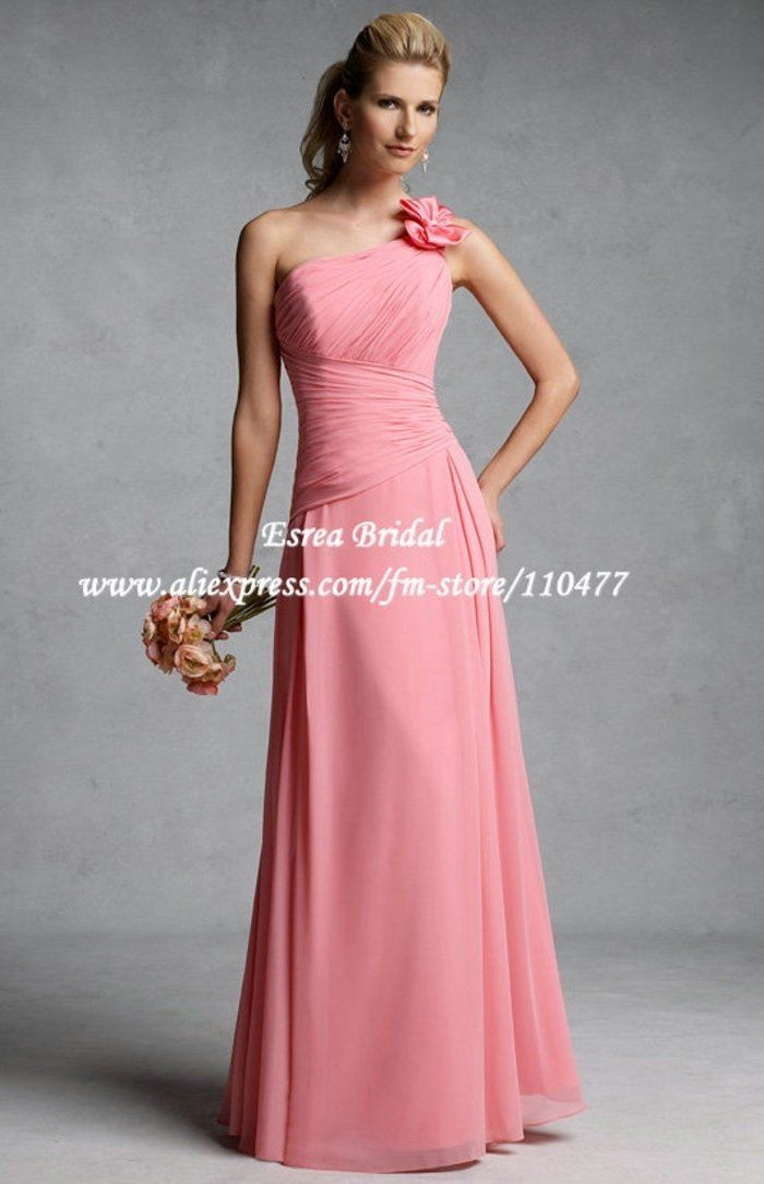 Hot sale 2013 One-Shoulder Flower Ruched Long Chiffon A-line Coral ...