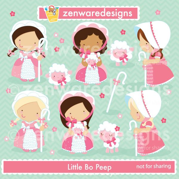 This Little Bo Peep clipart set features sheep clipart, shepherd's hook clipart, and Little Bo Peep girls clipart. Precious spring fairy cliaprt for the perfect cards, tote bags and monogramming! This set is wonderful for party invitations and notepads! The simple lines are great for embroidery as well!