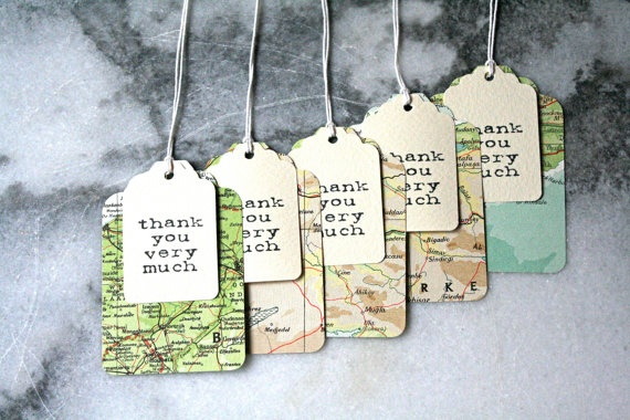 100 layered vintage atlas thank you tags, wedding favor or destination wedding via craftyclementines