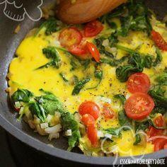 Low Carb Rezept für ein leckeres Spinat-Omelette mit Tomaten. Wenig Kohlenhydrate und einfach zum Nachkochen. Super für Diät/zum Abnehmen.