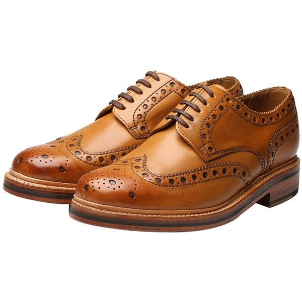 Grenson Archie Calf Brogue Shoes. Tan (5,725 MXN) ❤ liked on Polyvore featuring shoes, oxfords, grenson shoes, brogue oxford, grenson footwear, grenson and tan oxfords