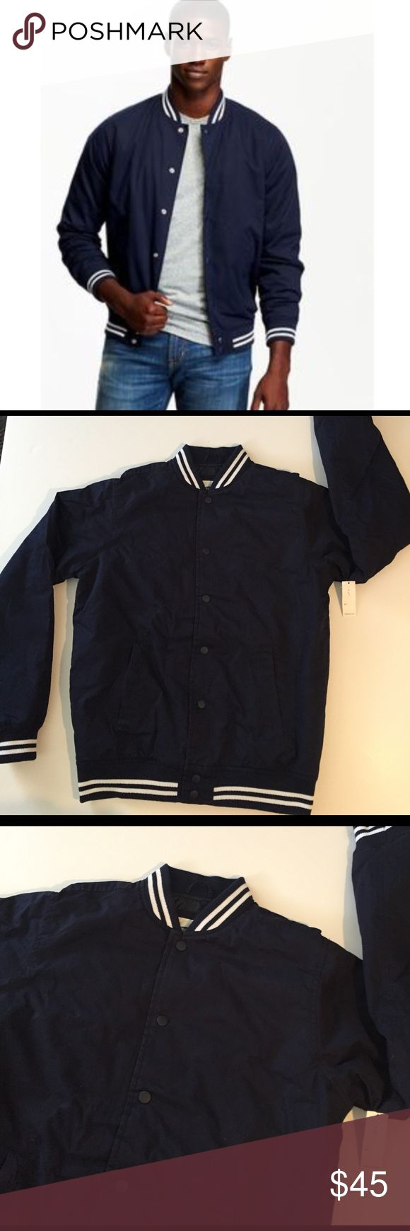 "Men's varsity jacket Super cute and could fit a ladies size m/lg. Measures approximately 20""armpit to armpit and a 27"" long. 100% shell with polyester lining. Navy blue with white stripe detail. Out of stock online. Old Navy Jackets & Coats Bomber & Varsity"