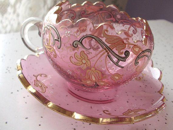 Antique 1920 Moser pink glass tea cup set, Bohemian glass, Czech glass, hand painted tea cup and saucer, pink wedding gift, antique glass