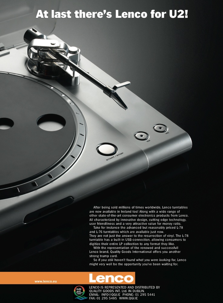 """Cliënt: Bureau LEF (art), Account: Lenco Europe. Market: Ireland. Target group: Irish ditributors of electronic devices. Ad for an Irish trade magazine. Message: Launch of the Lenco-brand in Ireland after being available in the rest of Europe. Product: turntable with usb-connection. Photo: Zebra Fotostudio - Venlo. (ct+English copy).   Sorry voor 't schrijffoutje """"renowed"""", dat uiteraard """"renowned"""" had moeten zijn"""