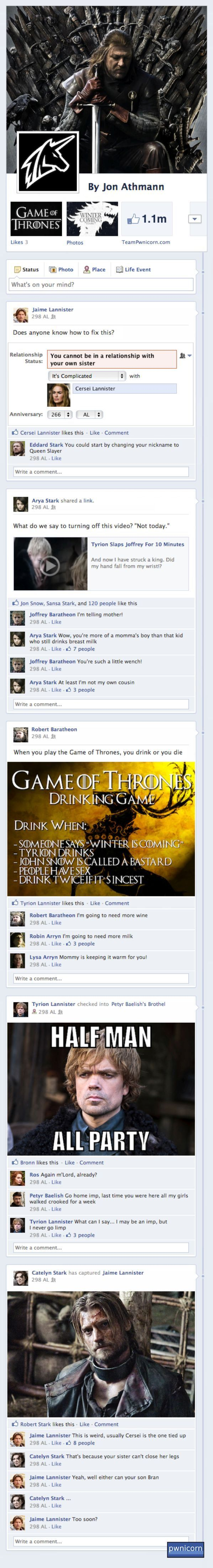 If The Game Of Thrones Characters Had Facebook // My Fav Is The Last One .... Hahahaha!!