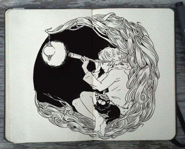 Moleskine-Art-by-Gabriel-Picolo-4.  Girl with telescope to moon, with black cat.