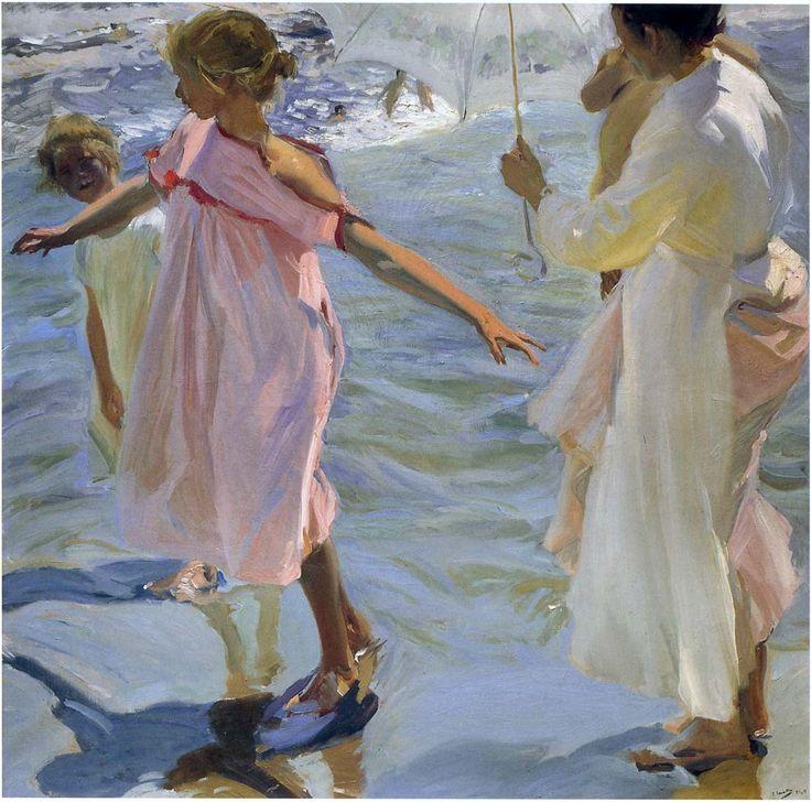 Bath time, Valencia Joaquin Sorolla y Bastida - 1908 Painting - oil on canvas