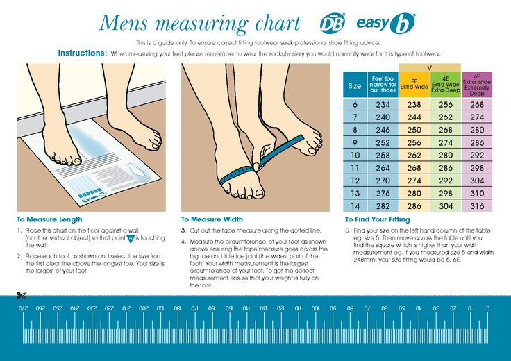 Printable Shoe Size Chart Width