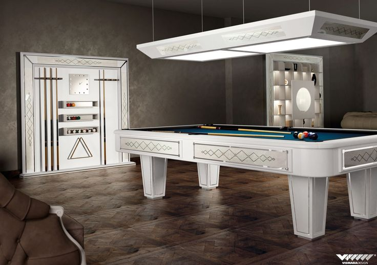 american billiard table and cue rack in art decò style with decoration in erable wood with mother of pearl and ebony inlay #vismaradesign #entertainmentroom
