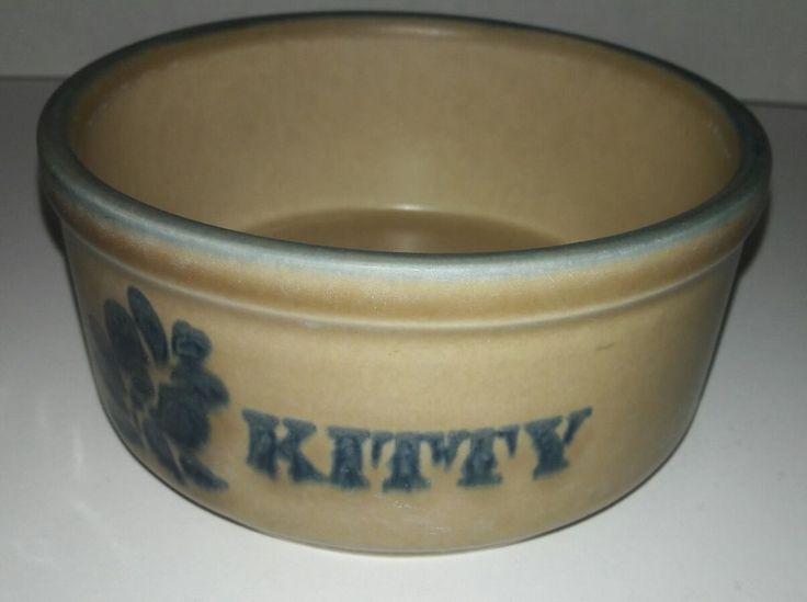 Vintage  Pfaltzgraff Folk Art Kitty Bowl - Tan/Blue #Pfaltzgraff
