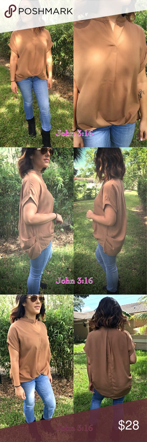 Chic mocha blouse This adorable top looks great on and feels amazing. Cuffed short sleeves with gathered detailing on sides and back. The front hem also has a gathered detailing that makes the top fun and different. TTS - Price is firm! S(2/4) M(6/8) L(10/12) Tops