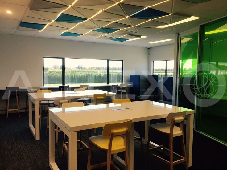Quietspace® 3D Ceiling Tiles - Kaipara, Westmount School, Christchurch, NZ - S-5.53 colour: Electric Blue, Silver and Civic - Direct fix to ceiling