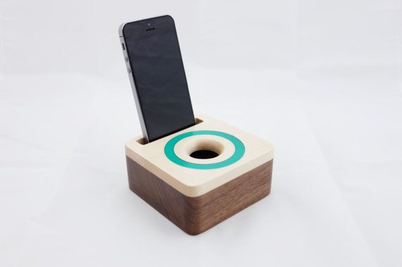 iPhone acoustic speaker box made from walnut wood, Wooden amplifier for iPhone 6, Gift