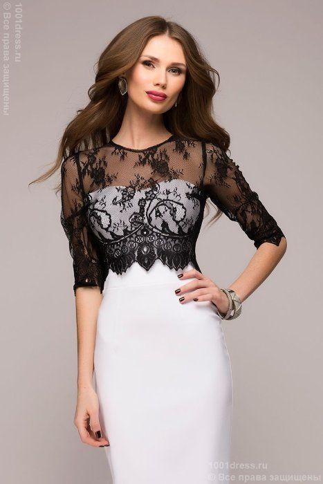 Ванильное платье-футляр с черным кружевным верхом 1