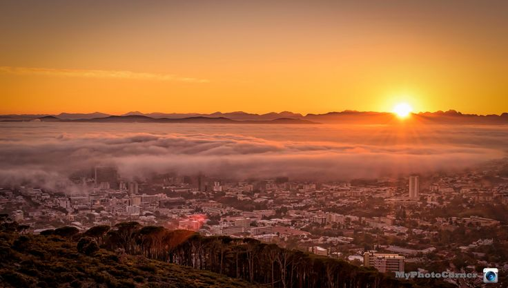 Misty sunrise over Cape Town