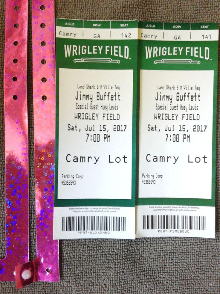 2- Mint Con.Jimmy Buffett/Heuy Lewis & News HardTickets Historic Wrigley Field