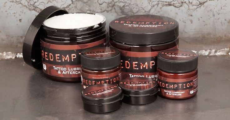 Each container of Redemption Tattoo Lubricant and Aftercare is filled with safe, petroleum free, organic ingredients that soothe the skin during a tattoo and allow it to heal naturally afterward! Available at Kingpin Tattoo Supply!