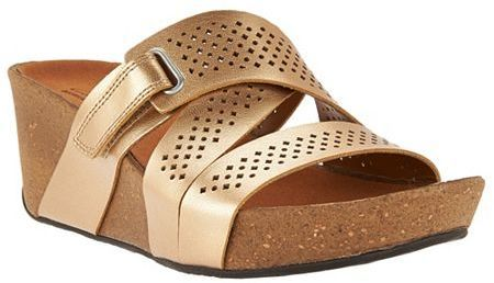 Clarks Leather Perforated Slip-on Wedge Sandals - Auriel Bright