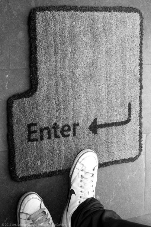 "There should also be one on the inside that says ""Esc"" geek house welcome mat. I want one that says space the final frontier"