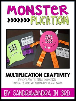 Have your students demonstrate their understanding of the multiplication strategies by creating an adorable monster. This hands-on activity requires students to use repeated addition, the commutative property, groups, and arrays. There are three different monsters that students can make.