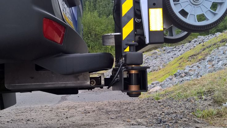 """HTS Systems' HTS-20SHM-2 cargo van swing mount uses a class three 2"""" inch ID trailer hitch receiver."""
