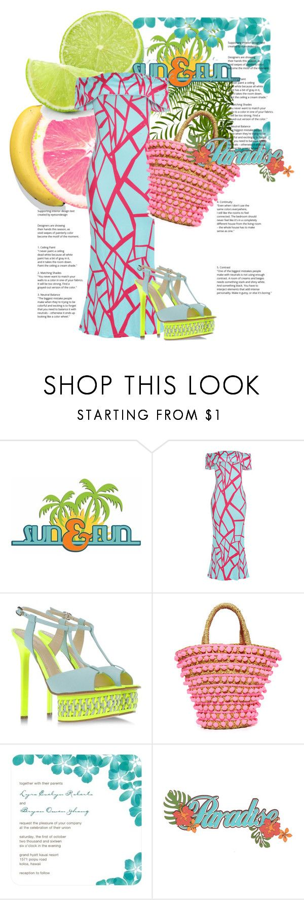 """""""Something Delish!"""" by the-house-of-kasin ❤ liked on Polyvore featuring Martha Stewart, WithChic, Pollini, Mystique, Summer, neon and summertime"""