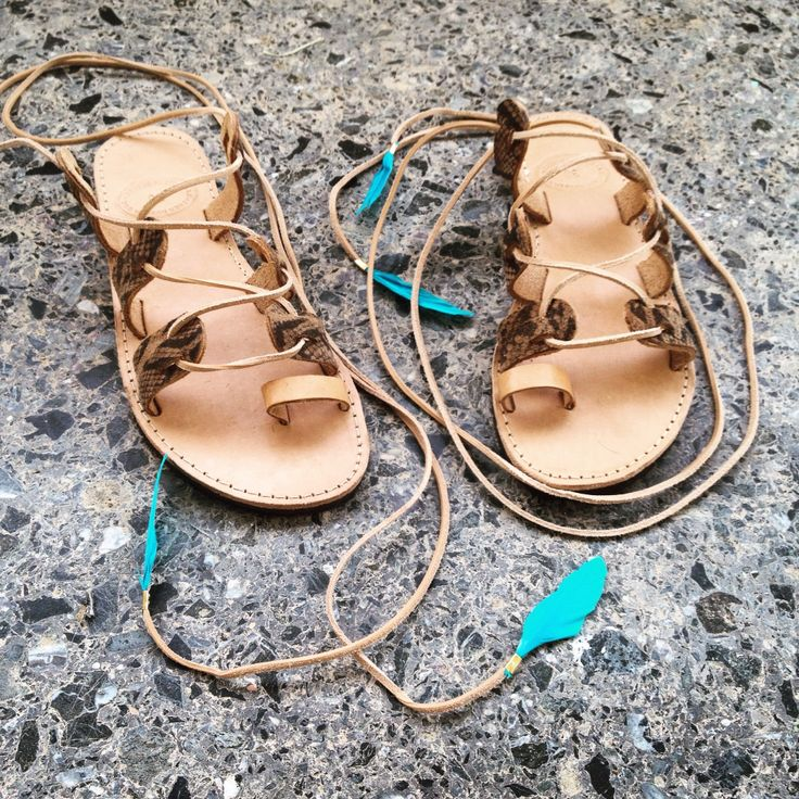 Handmade leather sandals. Tie up sandals. Feel the love by Rena Xenou