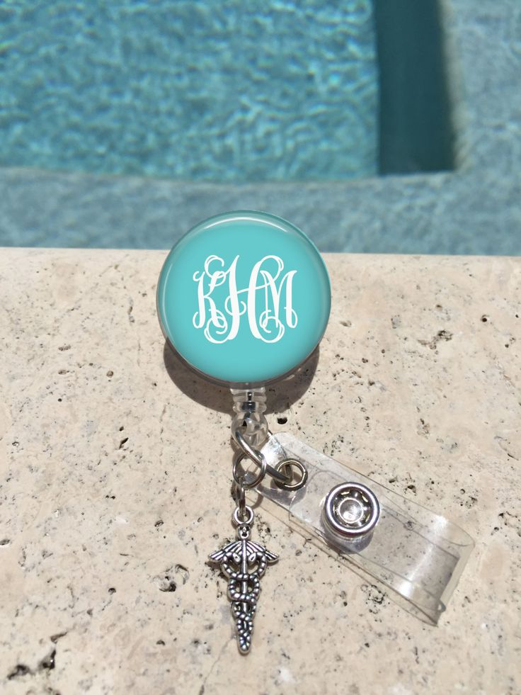 Monogram Badge Reel Retractable Badge Holder Personalized Badge Reels Doctor Badge Reels Nurse badge Reels RN BSN LPN MedicalPharm (7.00 USD) by MichelleriesBoutique