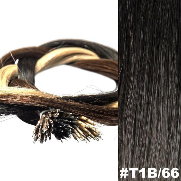 ombre von schwarz auf grau Farbe: #Ombre T1B/66 Haar-Grad(Klasse):  AAA REMY HAIR Art: Nano Ring (Nano-Tip) Länge: 45 cm Gewicht: 0.8g Strähne Stil: - glatt/geradlinig