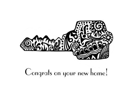 New Home Card Congratulations Notecard Blank Inside by karmabee