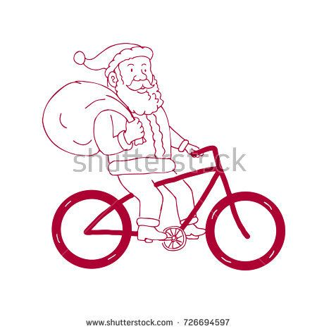 Cartoon drawing sketch style illustration of Santa Claus riding a bike bicycle holding bag of presents gifts on shoulder viewed from side on isolated background.  #SantaClaus #cartoon #illustration