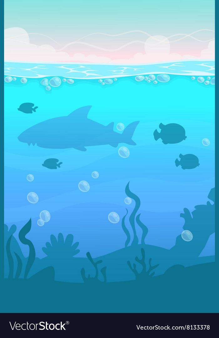 Cartoon Vertical Underwater Landscape Vector Image On