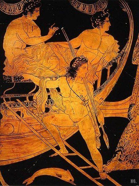 Ясон и Аргонавты. деталь из афинского красный рисунок глиняной вазе c.425-375 до н.э.