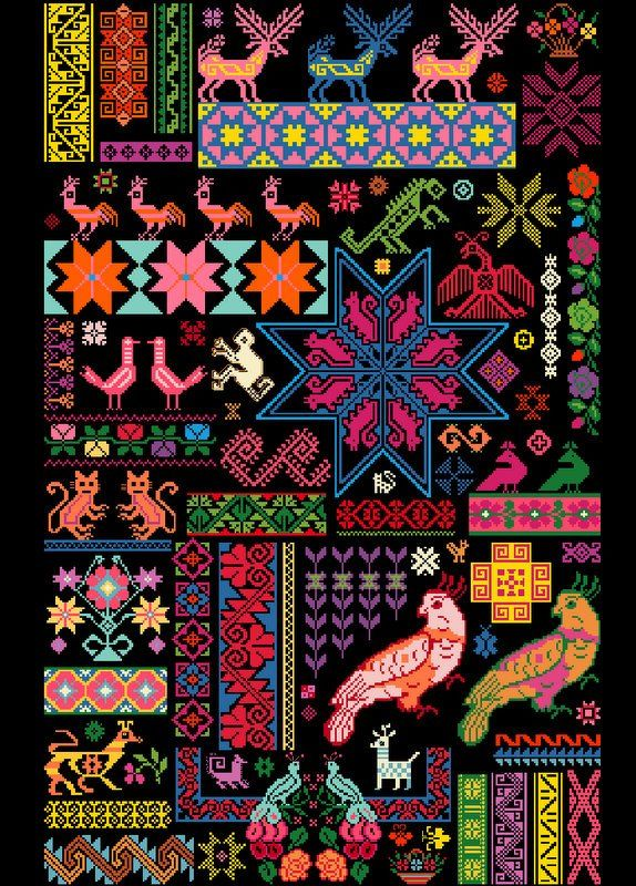 Cross stitch inspiration.  Mexican Sampler Chart put together using traditional…